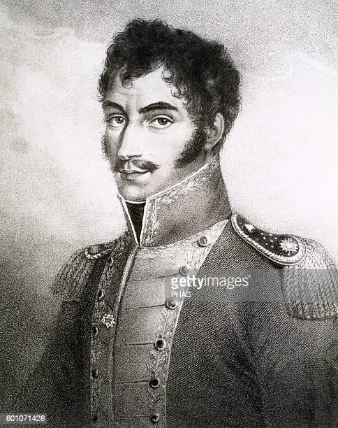 Simon Bolivar . Venezuelan military and statesman called The Liberator. Engraving of the time.