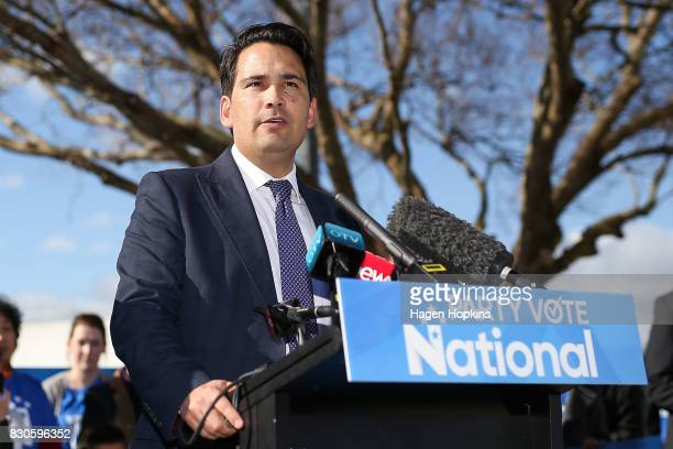 Simon Bridges speaks during a policy announcement at the Dowse Art Museum on August 12 2017 in Lower Hutt New Zealand Prime Minister Bill English...
