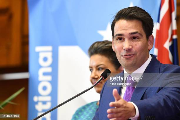Simon Bridges the new leader of the National Party addresses the media at Parliament on February 27 2018 in Wellington New Zealand