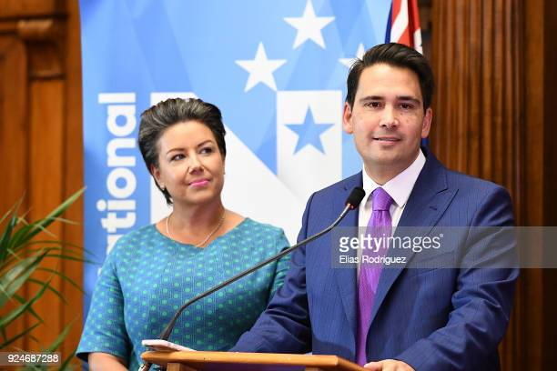 Simon Bridges the new leader of the National Party speaks with deputy Paula Bennet at the New Zealand Parliament on February 27 2018 in Wellington...