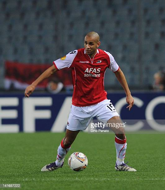 Simon Busk Poulsen of AZ Alkmaar in action during the UEFA Europa League Round of 16 second leg match between Udinese Calcio and AZ Alkmaar at Friuli...