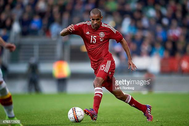 Simon Busk Poulsen of Denmark controls the ball during the International Friendly match between Denmark and Montenegro at Viborg Stadion on June 8,...
