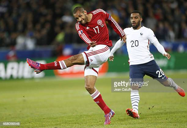Simon Busk Poulsen of Denmark in action during the international friendly match between France and Denmark at Stade Geoffroy-Guichard on March 29,...
