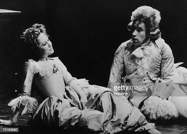 Simon Callow as Mozart and Felicity Kendal as his wife Constanze in a National Theatre production of Peter Shaffer's play 'Amadeus' at the Olivier...