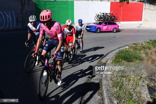 Simon Carr of United Kingdom and Team EF Education - Nippo, Matteo Moschetti of Italy and Team Trek - Segafredo & Attilio Viviani of Italy and Team...
