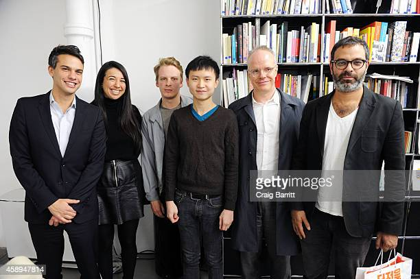 Simon Castets Alison Coplan Andrew Durbin Ho Rui An Hans Ulrich Obrist and Asad Raza attend the Swiss Institute launch celebration of Hans Ulrich...