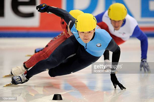 Simon Cho of the US competes to win the men's 500m finals of the ISU World Cup short track speed skating final event in Dresden eastern Germany on...