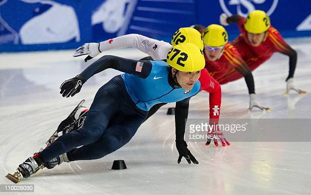 Simon Cho of the USA on his way to winning the final of the men's 500m at the World Short Track Speed Skating Championships at the Sheffield Arena in...