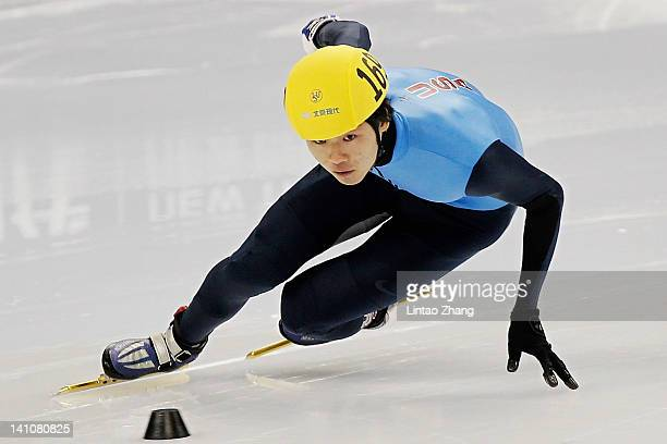Simon Cho of United States competes in the Men's 500m Preliminaries during day two of the ISU World Short Track Speed Skating Championships at the...