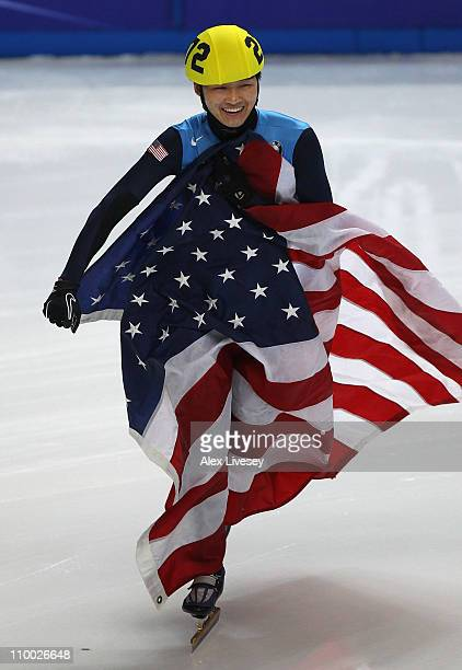 Simon Cho of USA celebrates after winning gold in the Mens 500m Final during day two of the ISU World Short Track Speed Skating Championships at...