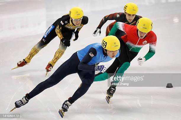 Simon Cho of USA competes in the Men's 500m Preliminaries during day two of the ISU World Short Track Speed Skating Championships at the Oriental...