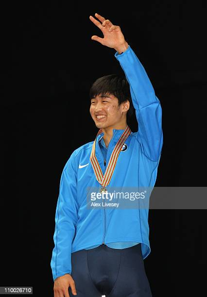 Simon Cho of USA wins gold in the Mens 500m Final during day two of the ISU World Short Track Speed Skating Championships at Sheffield Arena on March...