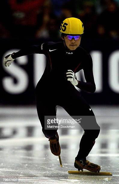 Simon Cho takes off from the start in the preliminary round of the 500 meter event during the Samsung ISU World Cup Short Track at the Utah Olympic...