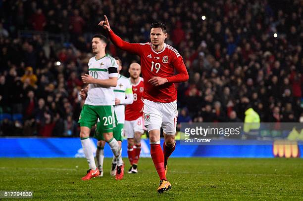 Simon Church of Wales celebrates after scoring a late penalty to level the scores at 11 during the international friendly match between Wales and...
