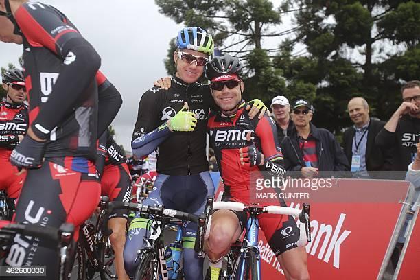 Simon Clarke of Australia and Cadel Evans gesture at the starting line of the 2015 Cadel Evans Great Ocean Road Race Men's Elite Race in Geelong on...