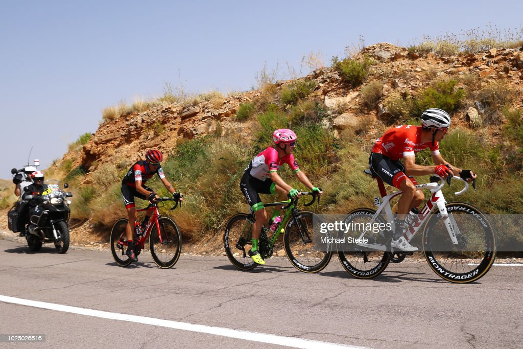Simon Clarke of Australia and Team EF Education First - Drapac P/B Cannondale / Bauke Mollema of The Netherlands and Team Trek Segafredo / Alessandro De Marchi of Italy and BMC Racing Team / during the 73rd Tour of Spain 2018, Stage 5 a 188,7km stage from Granada to Roquetas de Mar / La Vuelta / on August 29, 2018 in Roquetas de Mar, Spain.