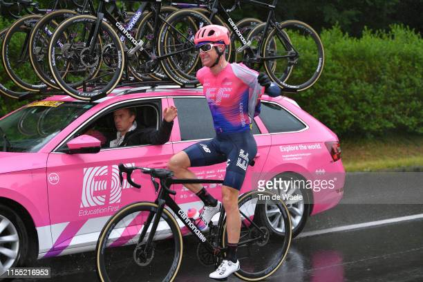 Simon Clarke of Australia and Team EF Education First / Rain Coat / Car / during the 71st Criterium du Dauphine 2019, Stage 3 a 177km stage from Le...