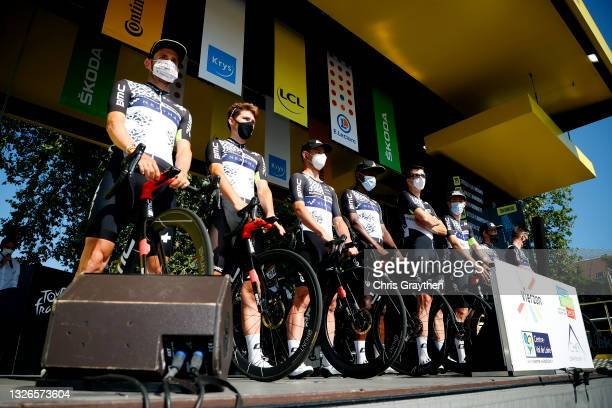 Simon Clarke of Australia, Michael Gogl of Austria, Victor Campenaerts of Belgium, Max Walscheid of Germany, Sean Bennett of The United States, Nic...