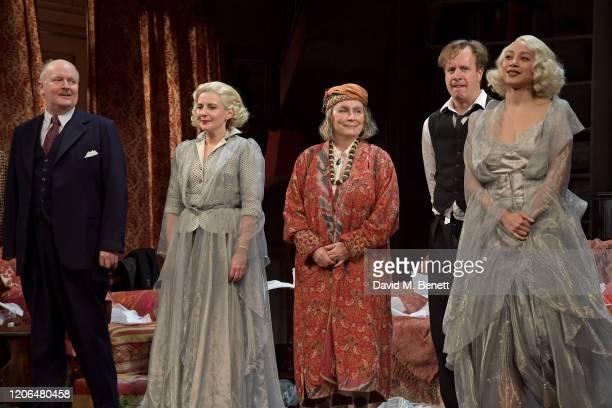 Simon Coates, Lisa Dillon, Jennifer Saunders, Geoffrey Streatfeild and Emma Naomi bow at the curtain call during the press night performance of...