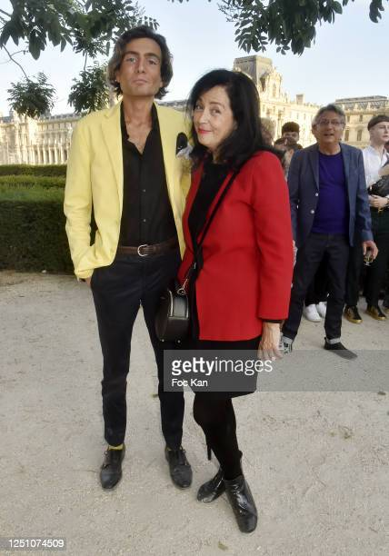 Simon Collin and PR Sylvana Lorenz from Pierre Cardin attend Valentin Cavaillé de Nogaret Birthday Party at Jardin du Carrousel on June 16 2020 in...