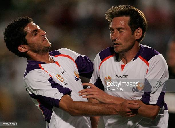 Simon Colosimo and Bobby Despotovski celebrate a goal during the round nine Hyundai ALeague match between the Central Coast Mariners and Perth Glory...