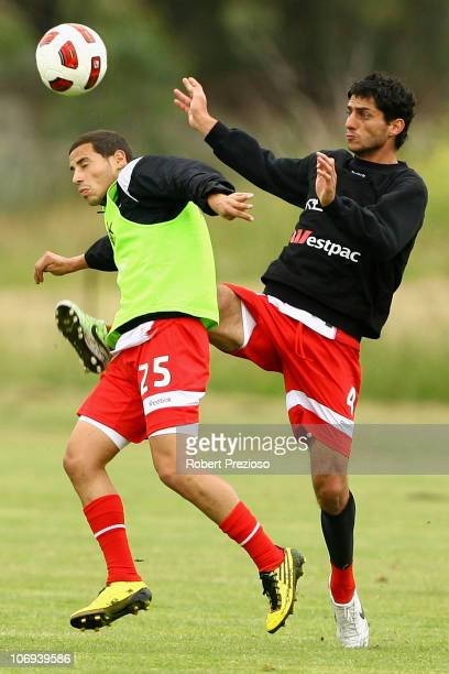 Simon Colosimo contests the ball during a Melbourne Heart ALeague training session at La Trobe University Sports Fields on November 18 2010 in...