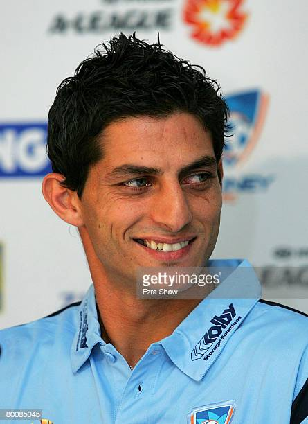 Simon Colosimo smiles at a press conference announcing that he has signed with Sydney FC at the Sydney Football Stadium on March 3 2008 in Sydney...