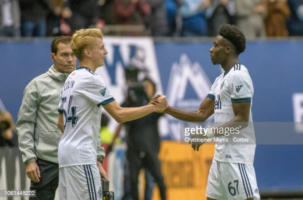 Simon Colyn of the Vancouver Whitecaps subs in against the the Portland Timbers for Alphonso Davies of the Vancouver Whitecaps during Davies last...
