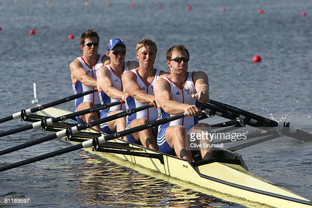 Simon Cottle Alan Campbell Peter Gardner and Peter Wells of the Great Britain compete in the men's quadruple sculls semifinal on August 19 2004...
