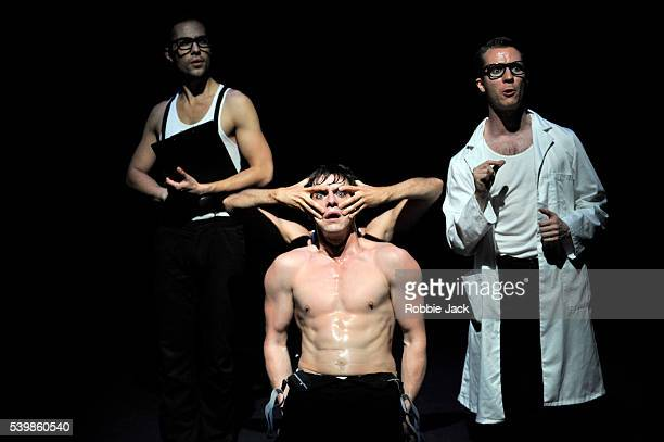 Simon cotton as a clinician Martin McCreadie as Alexander DeLarge and Neil Chinneck as Dr Brodsky in Anthony Burgess's A Clockwork Orange directed by...