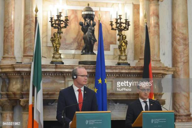 Simon Coveney Ireland's Tanaiste and Minister for Foreign Affairs amp Trade and Heiko Maas Germany's Federal Minister for Foreign Affairs arrive at...