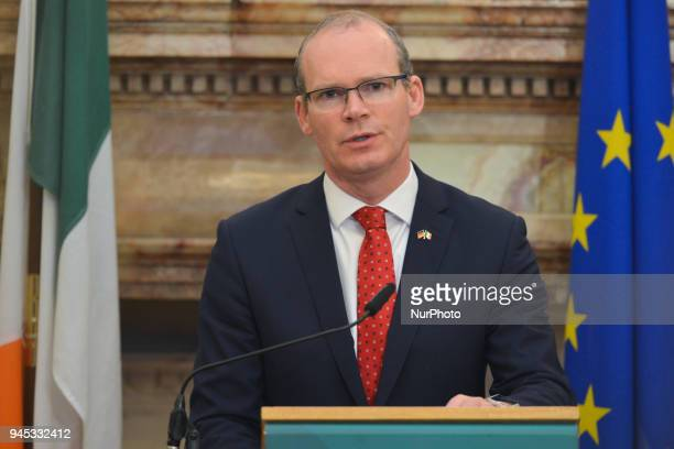 Simon Coveney Ireland's Tanaiste and Minister for Foreign Affairs amp Trade during a press conference with Heiko Maas Germany's Federal Minister for...