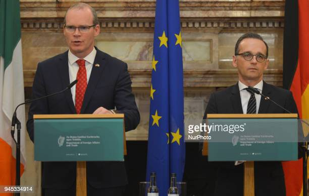 Simon Coveney Ireland's Tanaiste and Minister for Foreign Affairs amp Trade and Heiko Maas Germany's Federal Minister for Foreign Affairs during the...