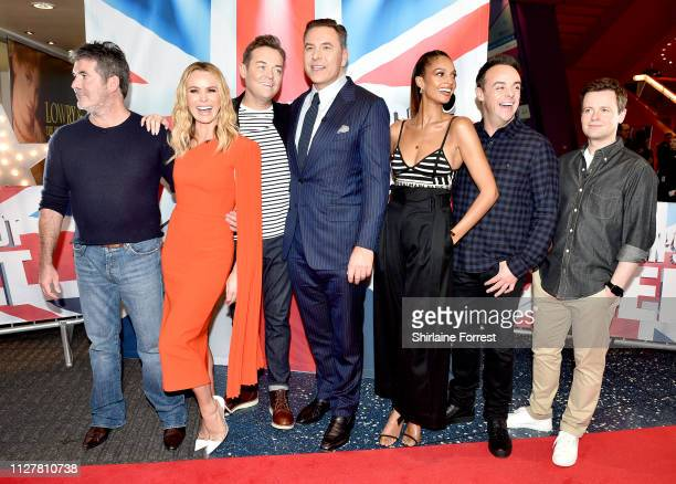 Simon Cowell Amanda Holden Stephen Mulhern David Walliams Alesha Dixon Anthony McPartlin and Declan Donnelly during the 'Britain's Got Talent'...