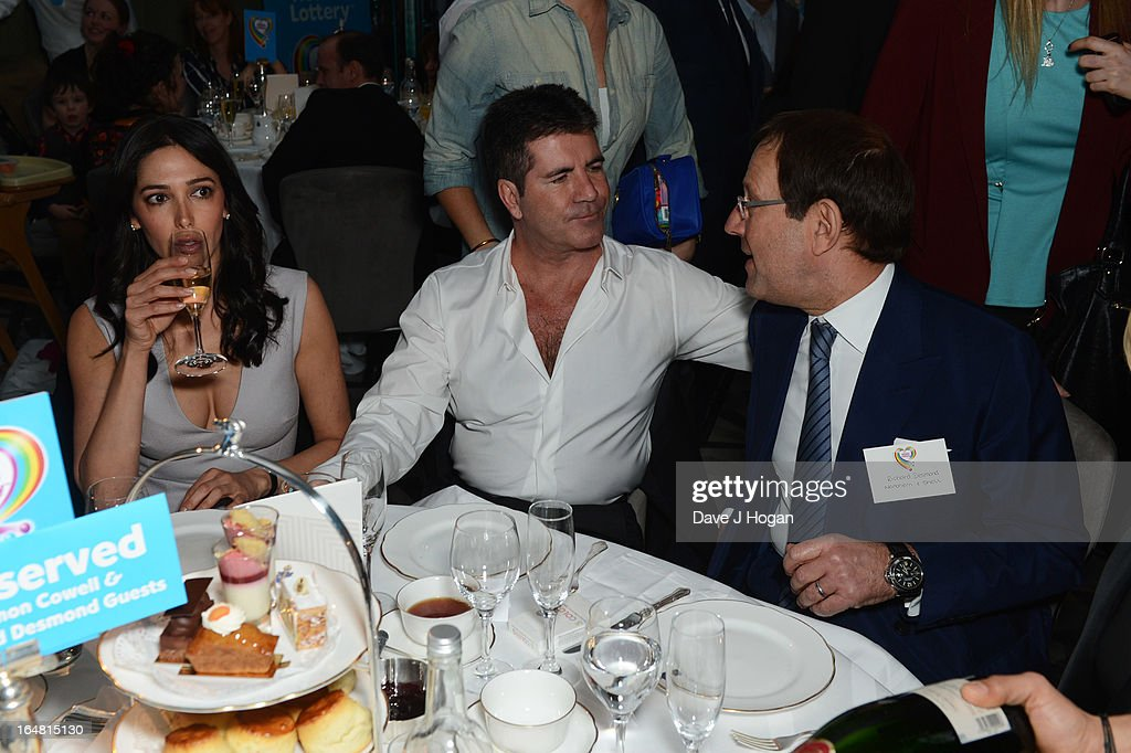Simon Cowell and Richard Desmond attend the Health Lottery champagne tea at Claridges on March 28, 2013 in London, England.