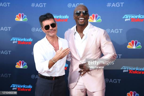 Simon Cowell and Terry Crews attend America's Got Talent Season 15 Kickoff at Pasadena Civic Auditorium on March 04 2020 in Pasadena California