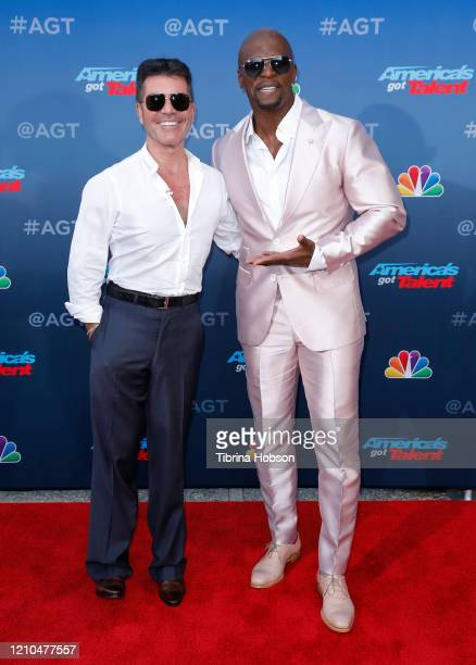 Simon Cowell and Terry Crews attend the America's Got Talent Season 15 Kickoff at Pasadena Civic Auditorium on March 04 2020 in Pasadena California