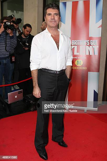 Simon Cowell arrives at the May Fair Hotel for the Britains's Got Talent launch on April 9 2015 in London England