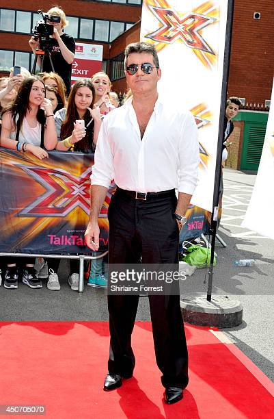 Simon Cowell arrives for the Manchester auditions of The X Factor at Lancashire County Cricket Club on June 16 2014 in Manchester England