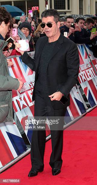 Simon Cowell arriving at the Birmingham Hippodrome theatre to film the Britains Got Talent auditions at Birmingham Hippodrome on February 5 2015 in...