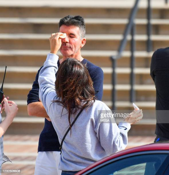 """Simon Cowell is seen on the set of """"America's Got Talent"""" on April 24, 2021 in Los Angeles, California."""