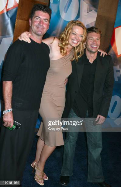 Simon Cowell Jeri Ryan and Ryan Seacrest during FOX TV Network 2003 2004 UpFront Party Arrivals at Ciprianis at Grand Central Station in New York...