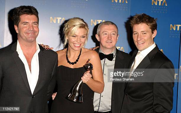 Simon Cowell Kate Thornton and Louis Walsh from The X Factor with their 2005 National Television Award for Best Entertainment Programme