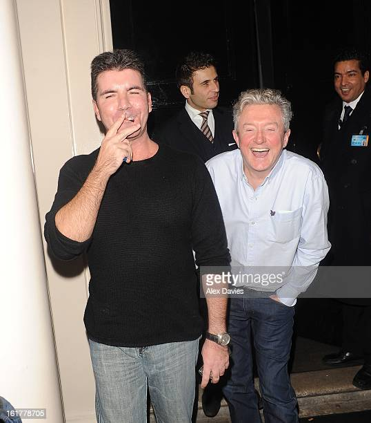 Simon Cowell Louis Walsh and Sharon Osbourne sighting leaving the arts club in mayfair after night out together on February 15 2013 in London England