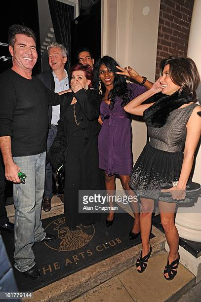 Simon Cowell Louis Walsh Sharon Osbourne Sinitta and Mezhgan Hussainy sighting at The Arts Club on February 15 2013 in London England
