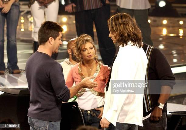 Simon Cowell Paula Abdul and 'American Idol' Season 4 Top 6 Finalist Constantine Maroulis from New York City New York