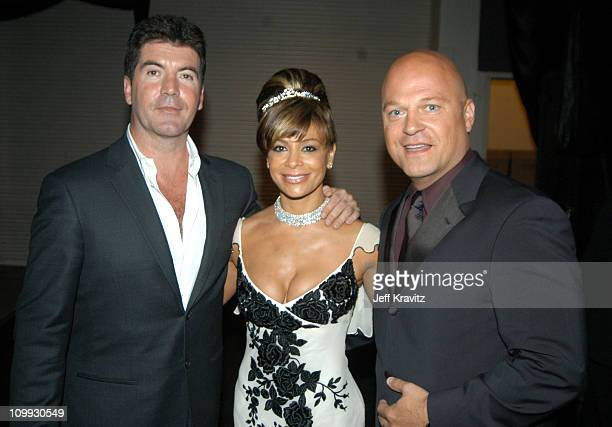 Simon Cowell Paula Abdul and Michael Chiklis during 55th Annual Primetime Emmy Awards Backstage and Audience at The Shrine Auditorium in Los Angeles...