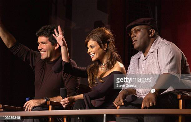 "Simon Cowell, Paula Abdul & Randy Jackson during ""American Idol"" Season 1 Finale - Performance Show at Kodak Theatre in Hollywood, California, United..."