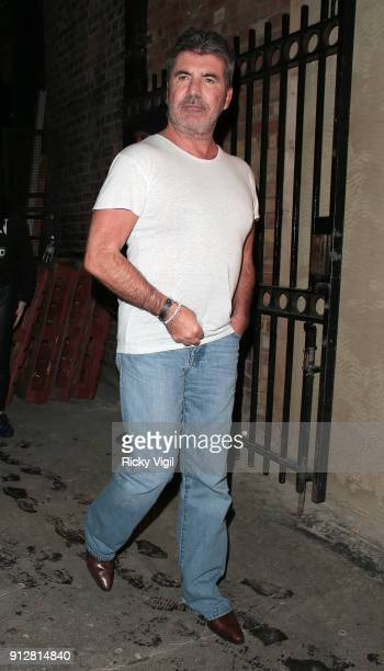 Simon Cowell seen leaving London Palladium after Britain's Got Talent auditions sighting on January 31 2018 in London England