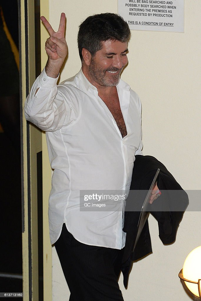 Simon Cowell seen leaving the Fountain Studios after X Factor on October 9, 2016 in London, England.